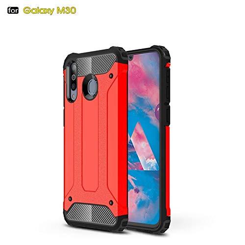 r Für Samsung Galaxy M30 Dual Layer Hochleistungs-Hybrid-Rüstung Robustes Design Stoßfestes PC + TPU-Schutzgehäuse (Farbe : Rot) ()