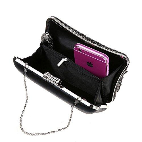 La pochette nuova borsa da sera moda borsa borsa fibbia diamante nappa banchetto ( Colore : Viola ) Nero