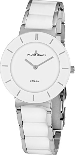 Jacques Lemans Damen Analog Quarz Uhr mit Keramik Armband 1-1866B