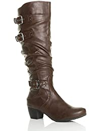 c9018650d6c Ajvani Womens Ladies mid Low Block Heel Buckle Western Ruched Slouch Zip  Calf Knee Boots Size