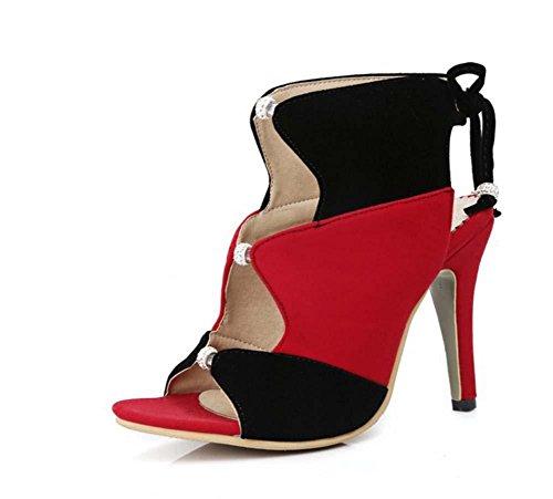 faraly Steine von Strasssteinen, Farbe High Heels Schuhe Short Schuhe Frauen Größe große 40–43Größe Spitze, rot (Strumpfhosen Toe Sandal)