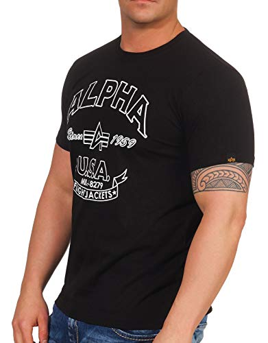 Alpha Industries Alpha FJ T-Shirt Schwarz XL (Industrie-kurzarm-baumwolle)
