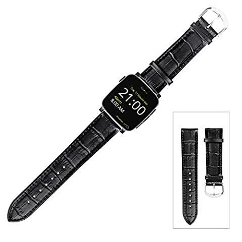 GOOQ 22mm Replacement Croco Grain Leather Watch Band Stainless Steel Pin Buckle Strap for Pebble, Pebble Time, Pebble Time Steel, Asus Zenwatch,Asus Zenwatch 2 (22mm width),Samsung Galaxy Gear 2 R380/Neo R381/Live R382, LG G Watch/LG G Watch R