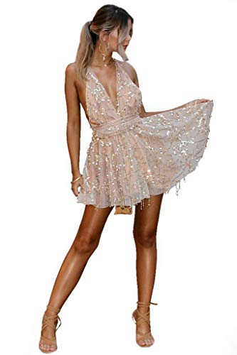 Sijux Frauen Pailletten Tiefem V-Ausschnitt Sexy Kleider Frauen Backless Halter Schwarz Gold Mini Kleid Party Quaste Sommerkleid Club Wear,Gold,S