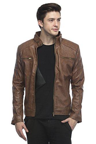 Lambency Men's PU Tan Biker Jacket