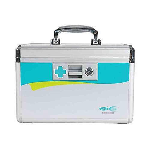 Haushaltsmedizin box medizin aufbewahrungsbox medizinische diagnose box erste hilfe box metall box medizin mehrschichtigen schloss medizin box (12 zoll aluminiumlegierung) (Medizin, Diagnose)