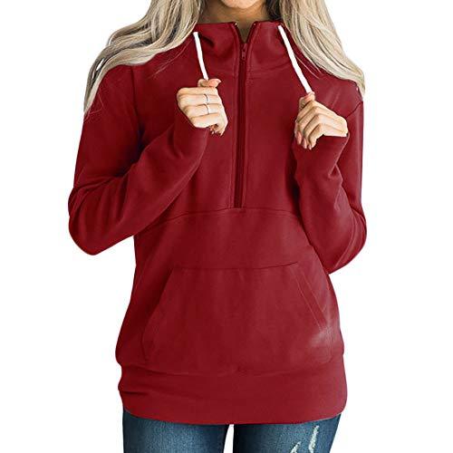 TianWlio Hoodie Pullover Damen Sweatshirt Langarmshirt Bluse Kapuzenpullover Frauen Lässige Solid Zipper Langarm Sweatshirt Jumper Pullover Bluse