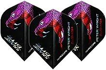 Hardcore Peter Wright Snakebite holograma dardos-3juegos por paquete (9vuelos en total) y tarjeta de comprobación Red Dragon