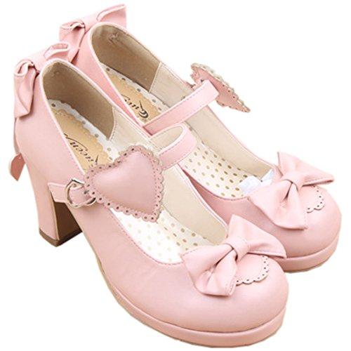 Partiss Damen Sweet Lolita High-top Casual Schuhen Lolita Pumps Herbst Fruehling Hochzeit Tanzenball Maskerade Cosplay Bowknots Platform Pumps Lolita Shoes Pink