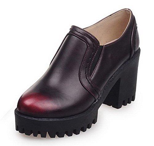 VogueZone009 Femme Couleur Unie Matière Souple Tire Rond Chaussures Légeres Rouge Vineux