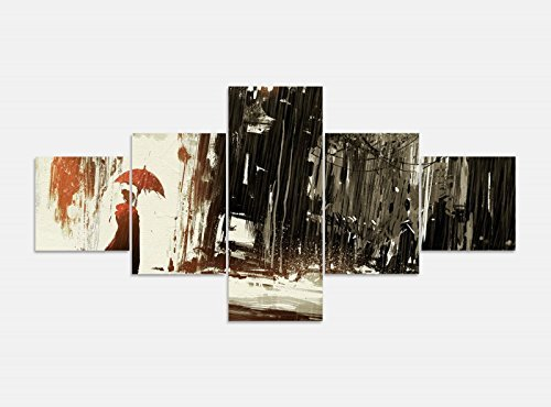 Leinwandbild 5 tlg. 200cmx100cm abstrakte Kunst Regen Frau Regenschirm Bilder Druck auf Leinwand Bild Kunstdruck mehrteilig Holz 9YA658, 5Tlg 200x100cm:5Tlg 200x100cm