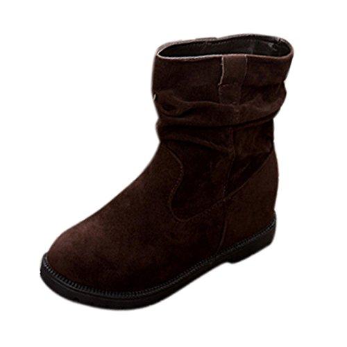Botas para Mujer KOLY Invierno Cuña Botines Rebaño Tobillo Botas planas Zapatos Tubo de plataforma Zapatos de mujeres Mujer Classic Solid Lined Impermeable Invierno Rain Nieve Botines (38, Café)