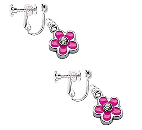 Kids Clip On Screw Type Earrings Pink Flower with Crystal with Free Trinket Gift Box