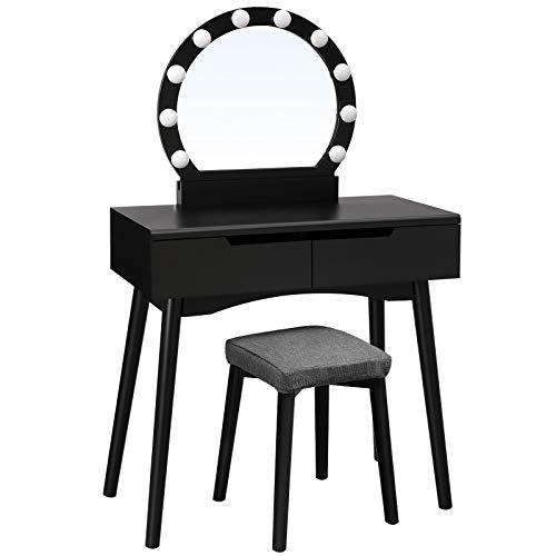 SONGMICS Toletta, Tavolo da Trucco con Specchio e Lampadine per Il Make Up, Sgabello Imbottito e 2 Ampi Cassetti Scorrevoli, Nero RDT11BL