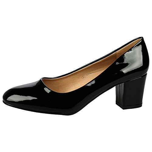 ByPublicDemand Yvonne Womens Mid Block Heel Slip On Smart Office Ladies Patent Court Shoes Black Patent Size 6 UK