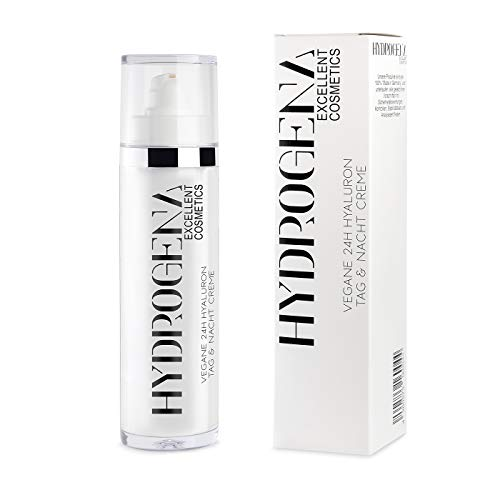 Hydrogena vegane 24h Hyaluron Tag & Nacht Creme I 50ml Anti-Falten Gesichtscreme mit Hyaluronsäure I Anti-Aging Tages-Creme mit pflanzlichem Botulinum für gesunde & straffe Haut