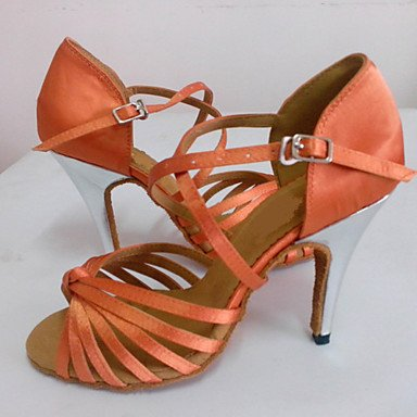 XIAMUO Angepasste Frauen Latein Sandalen angepasste Ferse Salsa Dance Schuhe Schwarz