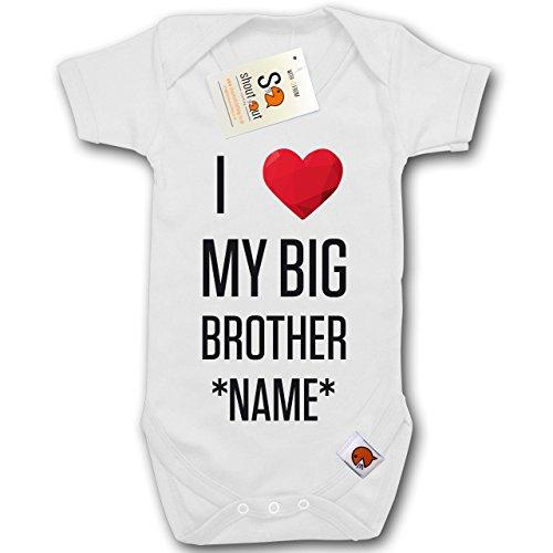 Personalizzato-I Love My Big Brother nome * *-Completino con consegna gratuita nel Regno Unito