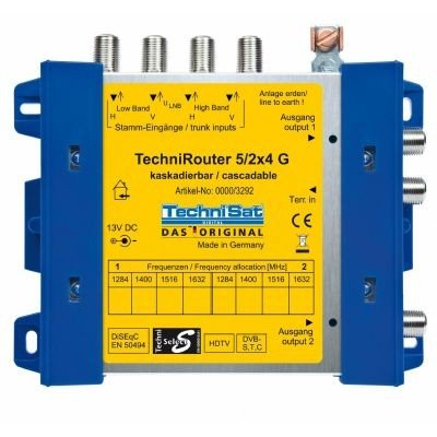 TechniSat TECHNIROUTER 5/2x4 G-R,  Einkabellösung / Verteiler für zwei Kabelstränge, für 1 Orbit-Position über ein Kabel (Unicable-Multischalter)