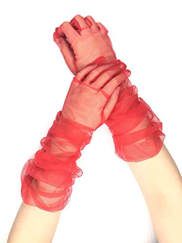 PANAX Edle extra lange Damen Handschuhe in Rot aus feinem und elastischem Netzstoff - Stulpen in Einheitsgröße für Frauen, Hochzeit, Oper, Ball, Fasching, Karneval, Tanzen, Halloween...