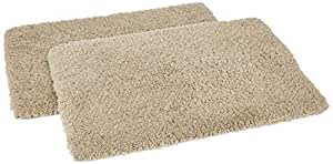 Amazon Brand - Solimo Premium Anti-Slip Microfibre Bathmat - 60cm x 40cm, Light Taupe, Pack of 2