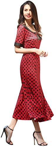 Jeansian Mode Femmes Slim Robe Retro Manches Courtes Slim OL Cocktail Dresses WHS389 red