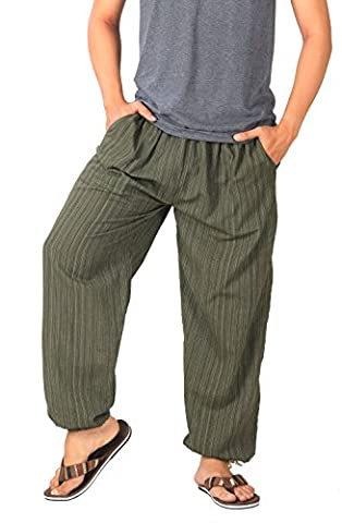 CandyHusky's Pin Stripes Cotton Casual Jogging Pajama Yoga Trousers Elasticed Waist Drawstring (Dark Olive Green)