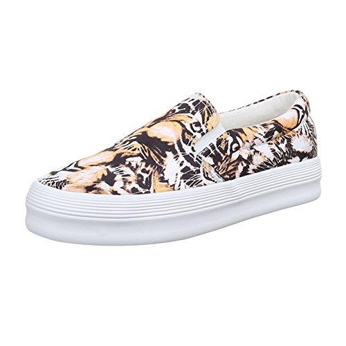 Damen Schuhe, 51131-Y, HALBSCHUHE SLIPPER Beige Multi