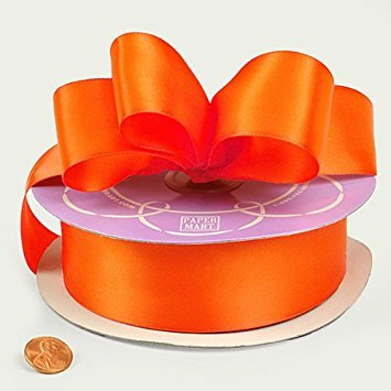 Torrid Orange Double Face Satin Ribbon, 1-1/2 X 50Yd by Paper Mart -