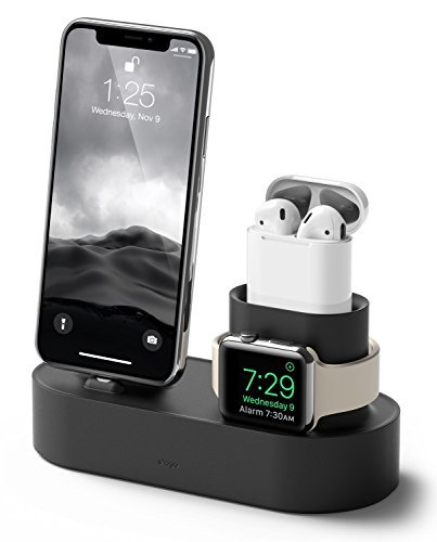 elago Charging Hub - [3 in 1 Charging Dock] - for iPhone X, 8, 8 Plus, 7, 7 Plus, and more; Apple Airpods; All Series Apple Watch