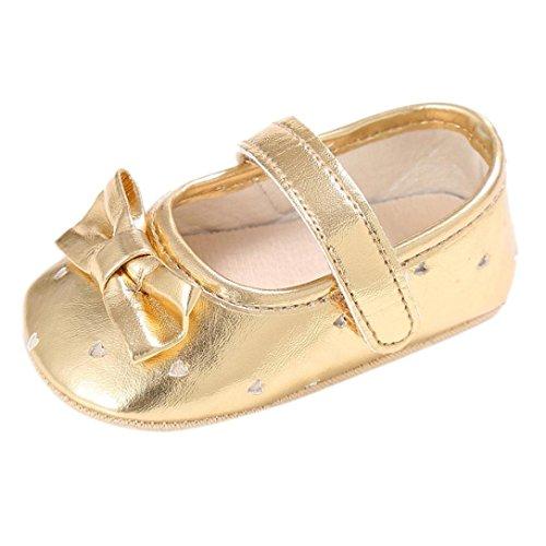 Koly_Ragazza del bambino pattini della greppia Newborn Fiore morbida suola anti-scivolo baby Sneakers (SIZE11, oro)
