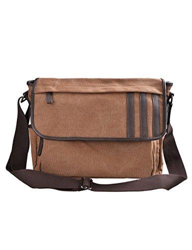Douguyan Männer Damen Baumwoll Schultertasche Messenger Bag Reise Schule Schulter Tasche Aktentasche Arbeittasche Notebooktasche Canvas Teenager Herren Schwarz E00260 Braun