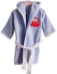Niños Albornoz, bata Rizo con capucha para niña y niño, diferentes tamaños y colores, certificado Oeko Tex Standard 100, 100% algodón, de pañales, suave
