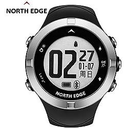 NORTH EDGE X-TREK2 Montre intelligente de fréquence cardiaque pour les sports de plein air, Montre multifonction à compteur de pas GPS NORTH EDGE, Montre Iron Compass Compass imperméable, 8 langues