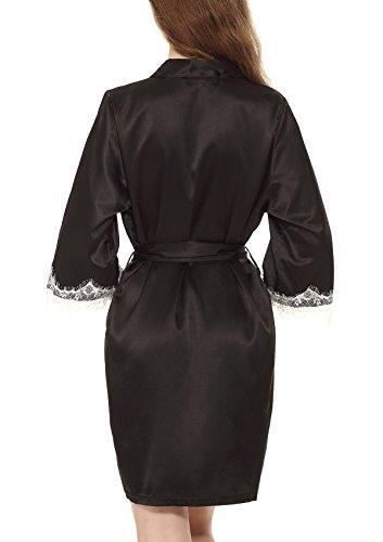 Yulee Damen Morgenmantel Kimono Spitzenrand Satin Nachtkleid in europäischer Größen Schwarz