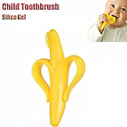 Soft Silicon Banana Bendable Baby Teether Training Toothbrush (Yellow)