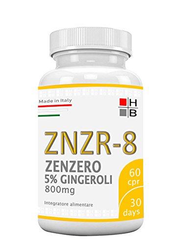 H|B ZNZR-8 ZENZERO titolato al 5% in GINGEROLI (60 CPR) aiuta a togliere gli accumuli ADIPOSI, alleato contro il GONFIORE ADDOMINALE e aiuta a RIDURRE il PUNTO VITA! Ottimo per chi segue una DIETA!