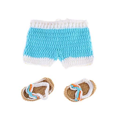 Baby Sonnenschein Kostüm - NROCF Sonnenschein Strand Hose, Neugeborenen Fotografie Kostüme, häkeln, geeignet für Neugeborene 0-3 Monate, handgemachte Baby Fotografie Requisiten,Blue