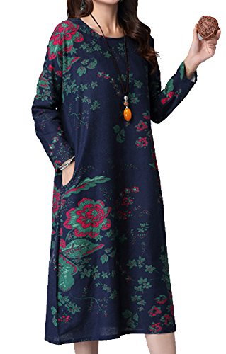 P Ammy Fashion Women's Retro Floral Patterned Cotton and Linen Long Sleeves Roomy Dress Dark Blue Size UK 14