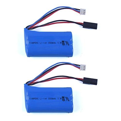 Preisvergleich Produktbild YouCute 2 Stücke 7.4V 1500mAh Batterien für MJX F649 T640C F639 F49 RC Hubschrauber-Ersatzteile Zusätze