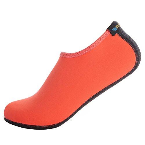 Blion Unisex Strandschuhe Aquaschuhe Breathable Schlüpfen Schnell Trocknend Schwimmschuhe Surfschuhe Wasserschuhe für Damen Herren Kinder Orange