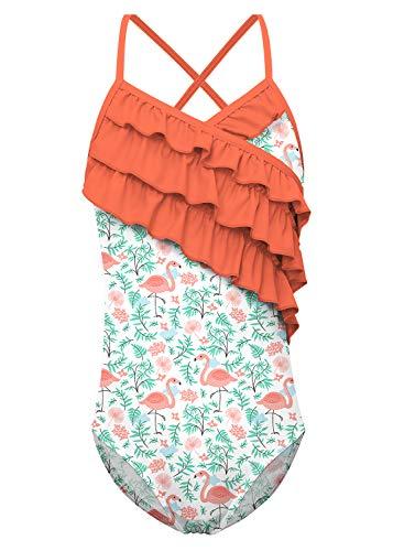 Funnycokid Badeanzüge für Mädchen Sommer Rüsche Flamingo One-Piece Badeanzugs Bathing Suit with Adjustable Shoulder Strap