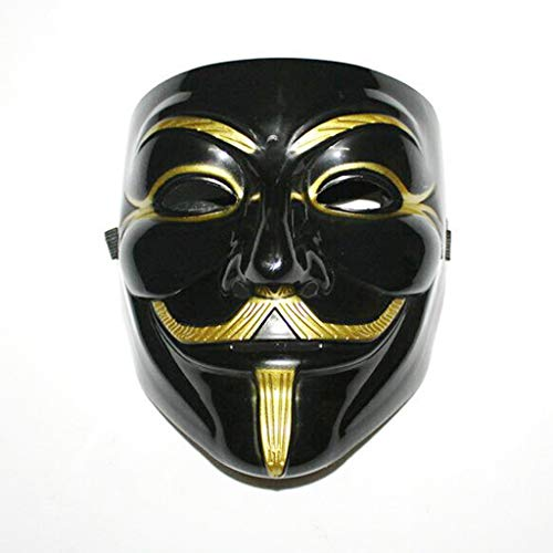 QWEASZER Halloween Cosplay Party Maske Terror V wie Vendetta Maske Abschlussball Erwachsenen Grimasse Sensenmann Tanz männlich Full Face Hacker Maske Movie Theme Requisiten Prom Maske,Black-OneSize