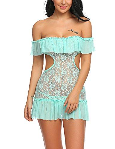 Untlet Babydoll off shoulder Dessous Set Nachtkleid Damen erotik ...