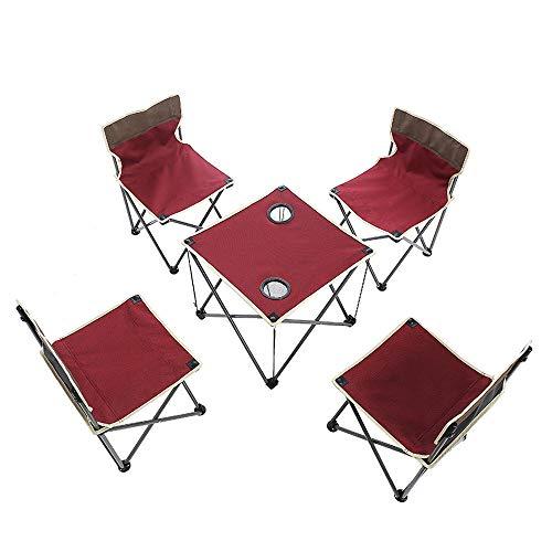 CWWHY Tragbare Klapp Camping Tisch Stühle Set, Outdoor, Terrasse, Camp Strand, Picknick, Grill, Wandern, Angeln, mit Getränkehalter & Tragetasche -