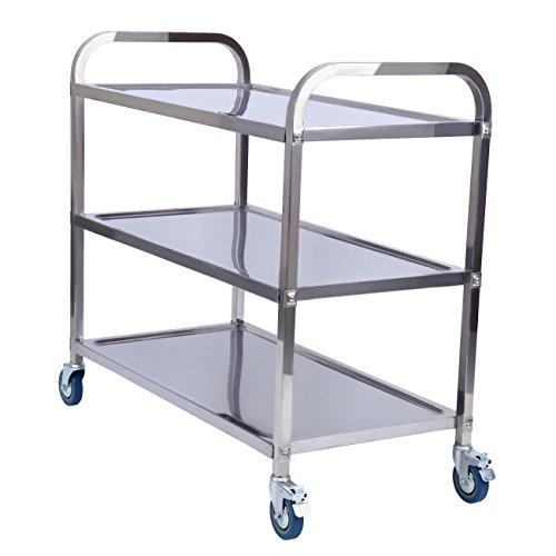 XuanYue Trolley Warenkorb Service Cart 3Etagen Edelstahl Storage Cart Servierwagen Cart Catering für Küche Badezimmer Restaurant