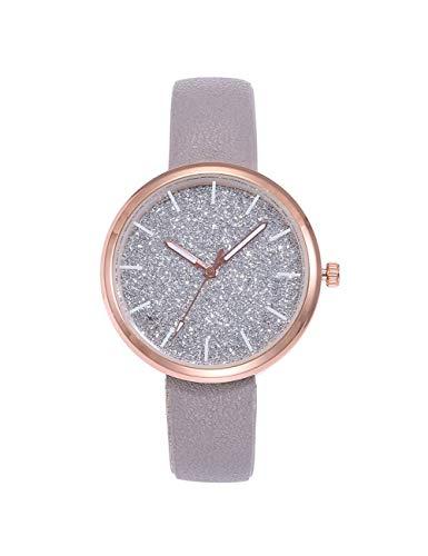 QIADS Uhren Damenuhren Mode Damenuhren Frauen Leder 5 Farben Zifferblatt Uhr Armbanduhr, Grau