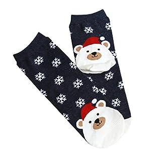 Calcetines de mujer impresos de Navidad Calcetines divertidos ocasionales lindos de invierno Unisex Calcetines de moda de diseño de dibujos animados de Navidad para mujeres – Azul marino