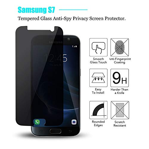 MiPao 9H Vetro Temperato Anti-Peeping Per Samsung Galaxy S7 2.5D Privacy Screen Protector,Panzerglas Sichtschutzfolie, Full Cover Weiche Kante,Displayschutzfolie,Privacy Screen Protector, Anti-Spy 2 Privacy Screen Protector