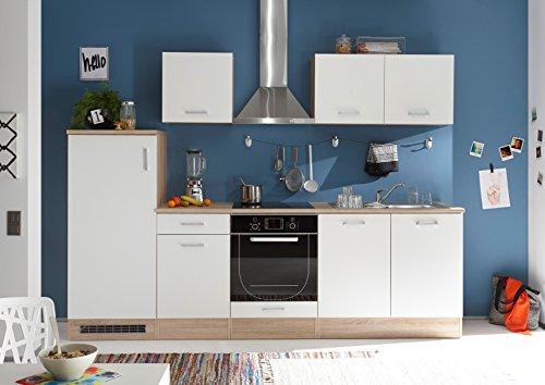 """Küche """"Andy"""" Küchenblock Küchenzeile Komplettküche 270cm Singleküche Miniküche Kleinküche weiß Eiche"""